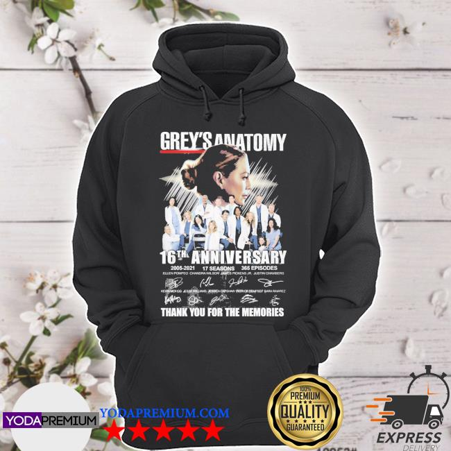 Grey_s Anatomy 16th anniversary 2005 2021 thank you for the memories hoodie