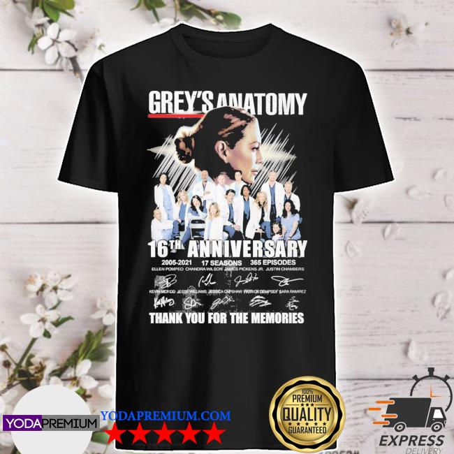 Grey_s Anatomy 16th anniversary 2005 2021 thank you for the memories shirt