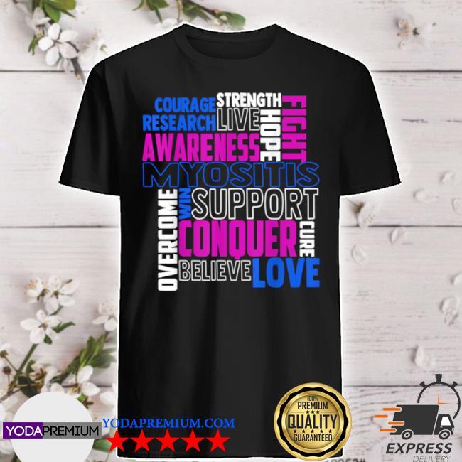 Myositis awareness dermatomyositis related blue ribbon shirt