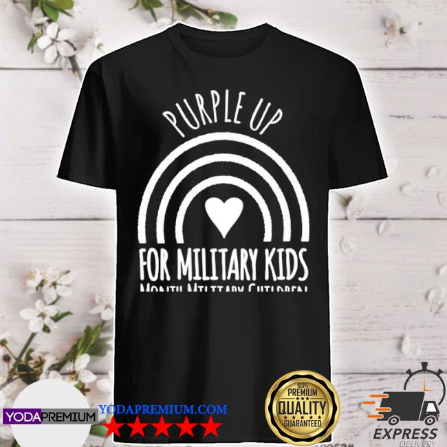 Womens purple up for military month military child rainbow shirt