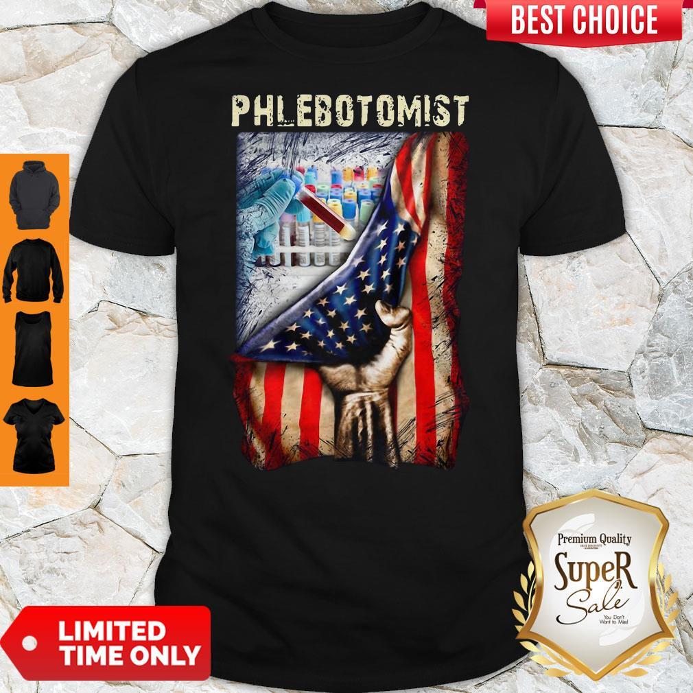 American Flag Vaccine Phlebotomist Shirt