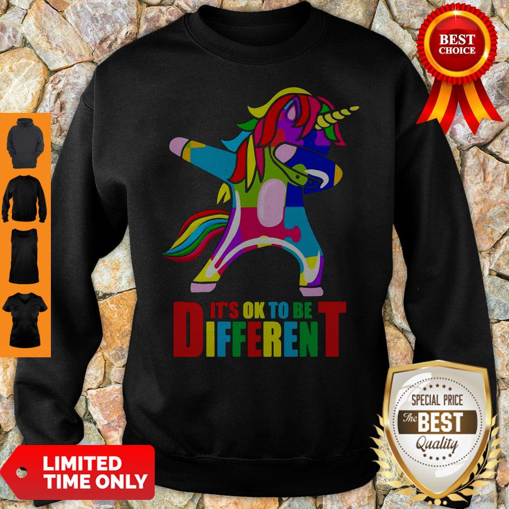 Official Autism Unicorn It's Ok To Be Different Sweatshirt