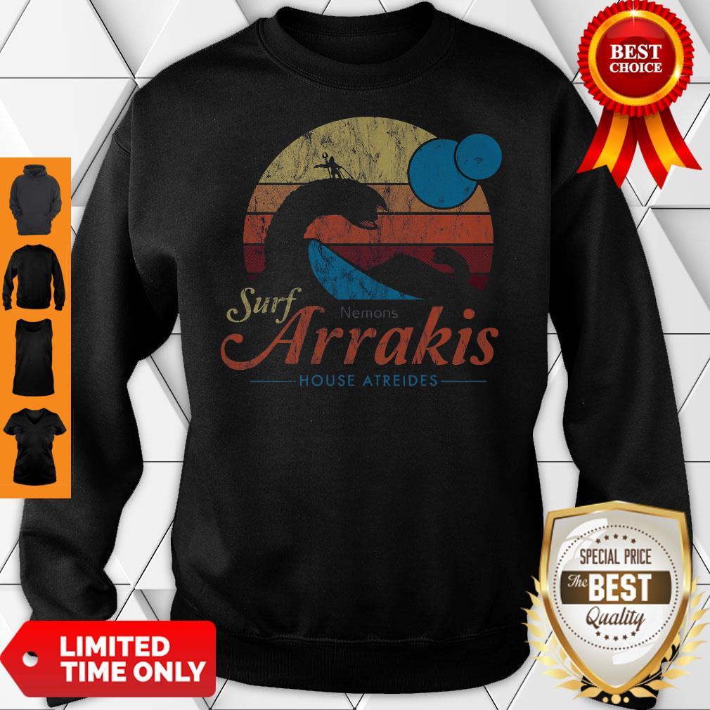 Visit Arrakis Vintage Distressed Surf Dune Sci Fi Slim Fit Sweatshirt