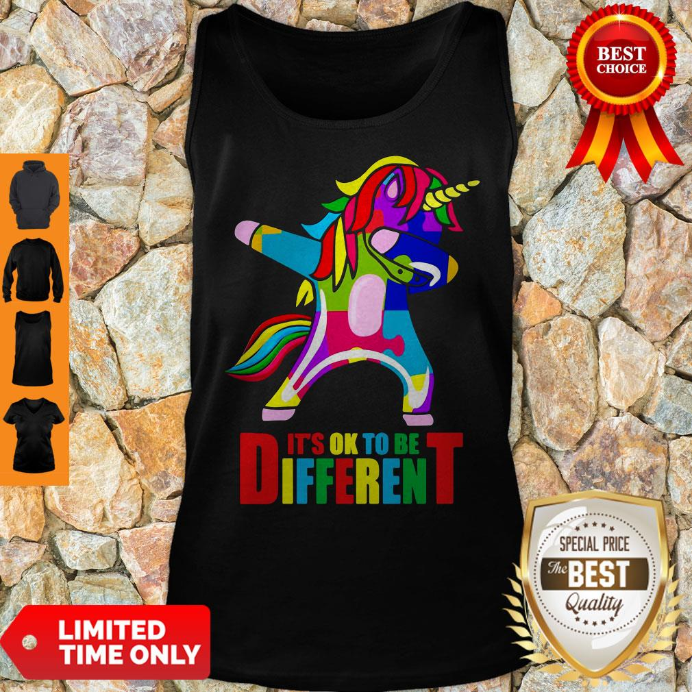 Official Autism Unicorn It's Ok To Be Different Tank Top