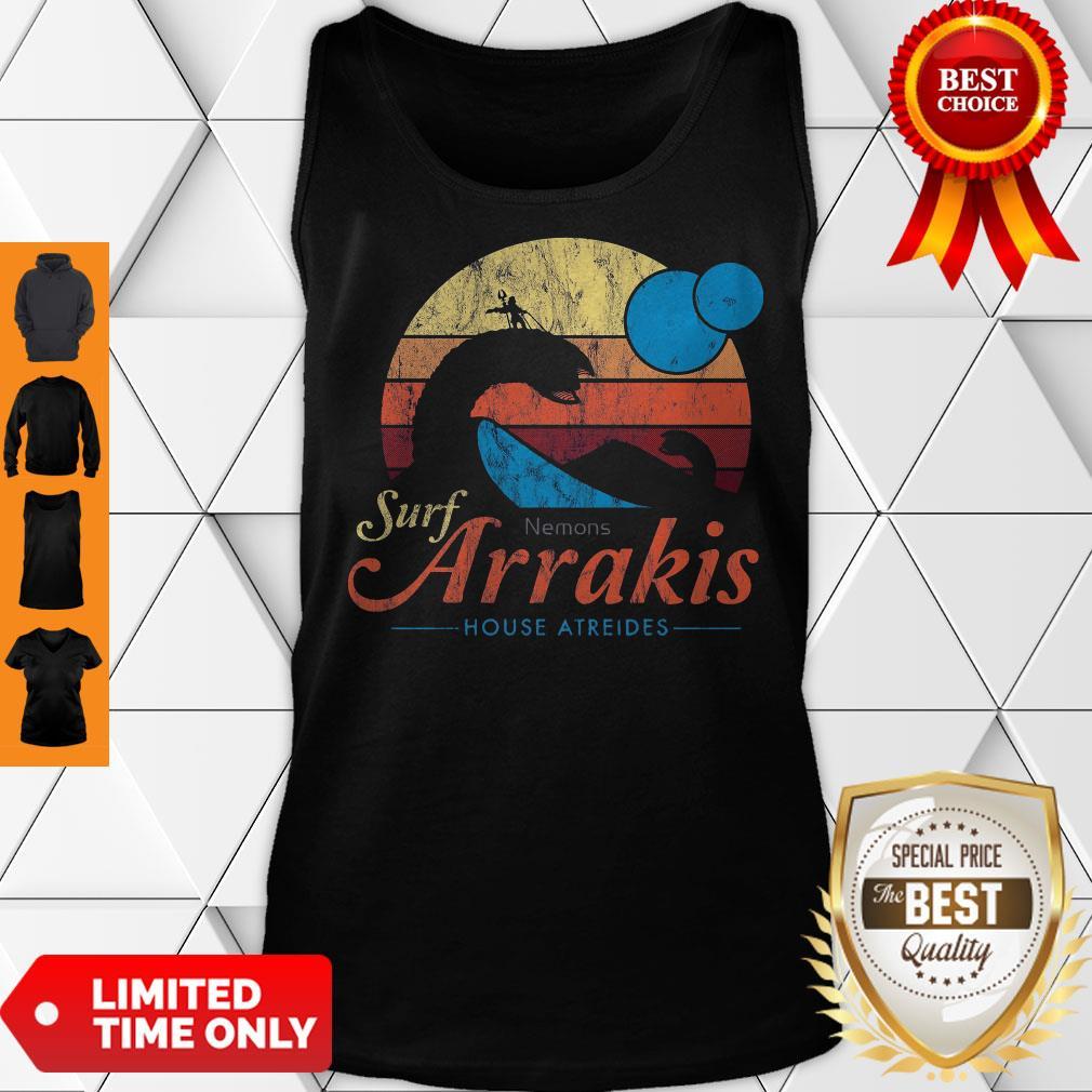 Visit Arrakis Vintage Distressed Surf Dune Sci Fi Slim Fit Tank Top