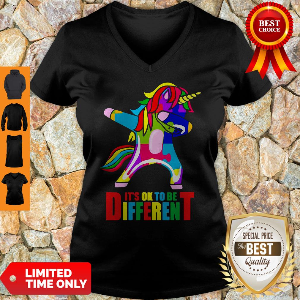 Official Autism Unicorn It's Ok To Be Different V-neck