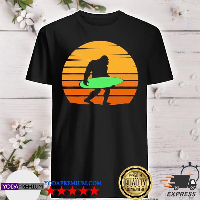Bigfoot sasquatch surfing surfboard surfer retro shirt