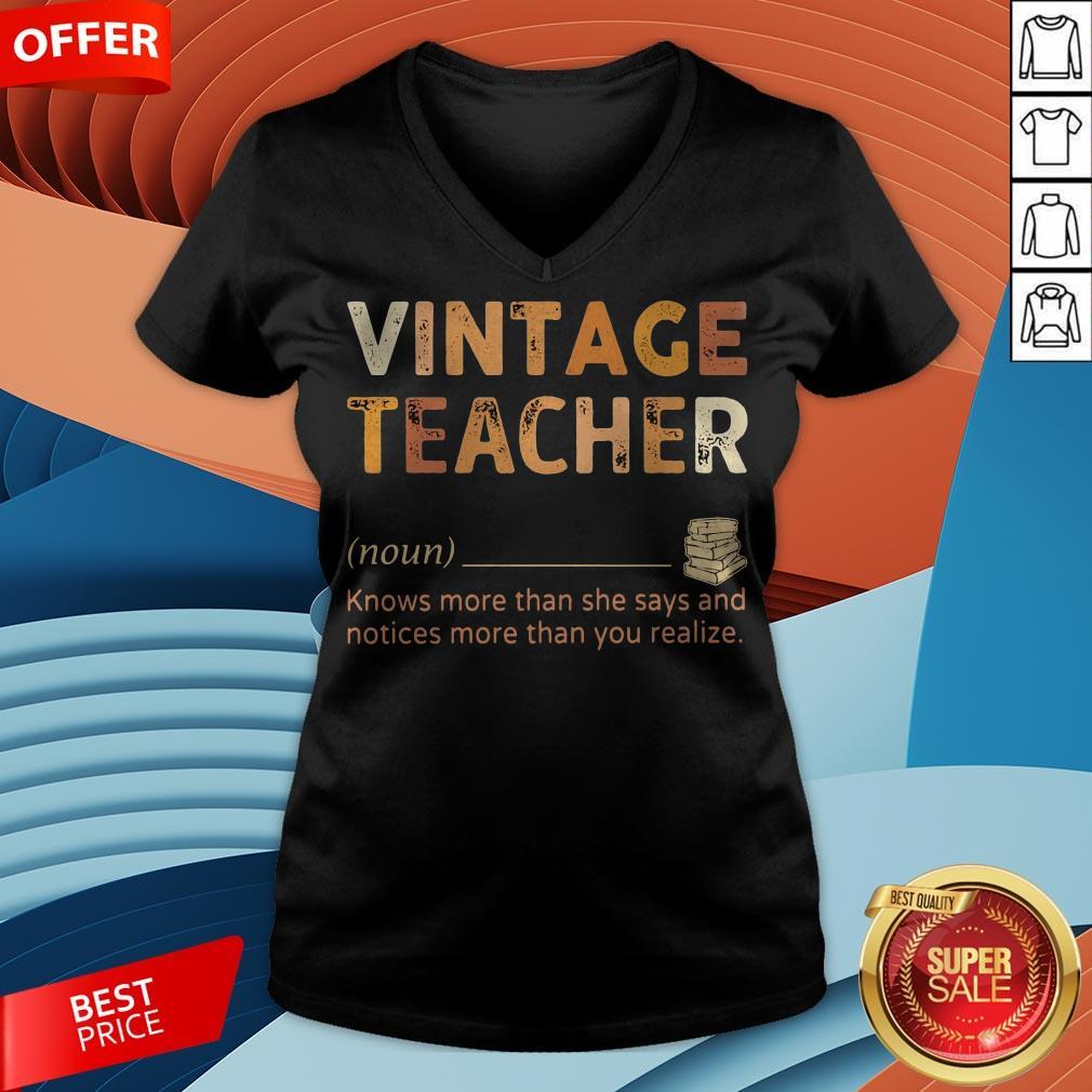 Vintage Teacher Knows More Than She Says Black Lives Matter V-neck