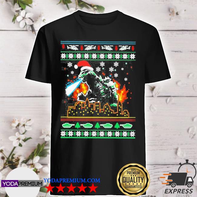 Godzilla ugly christmas shirt