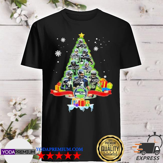 Official seattle seahawks player signatures christmas tree shirt