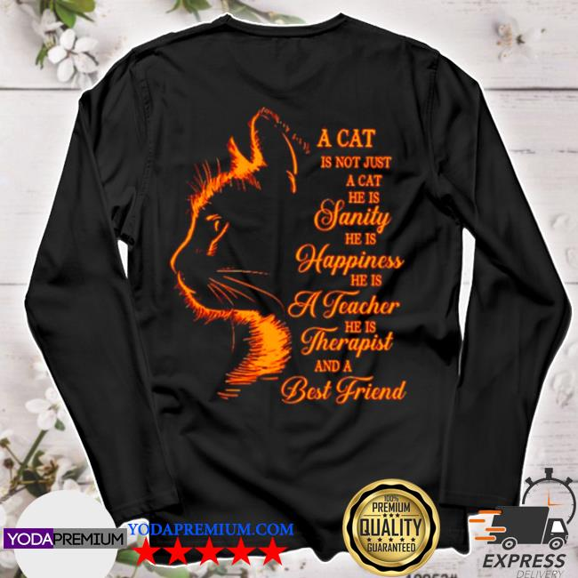 A cat is not just a cat he is janity he is happiness and a best friend s longsleeve