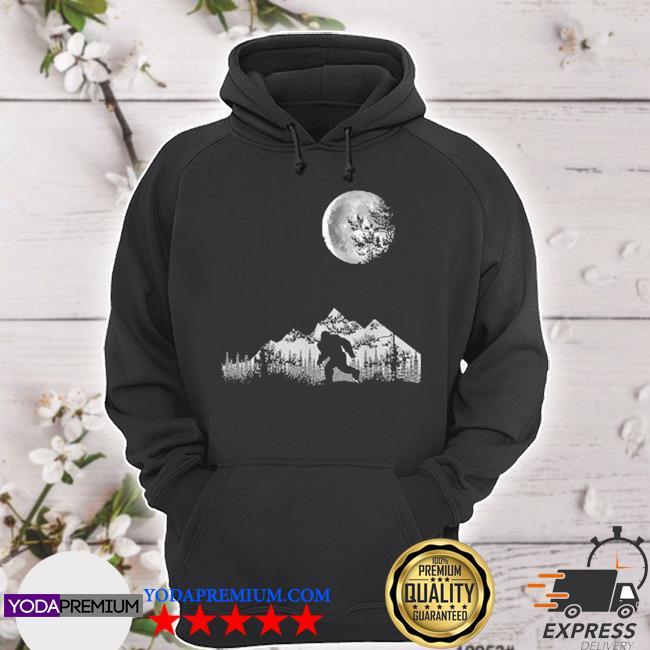 Bigfoot walking in the forest moon night sky sasquatch s hoodie