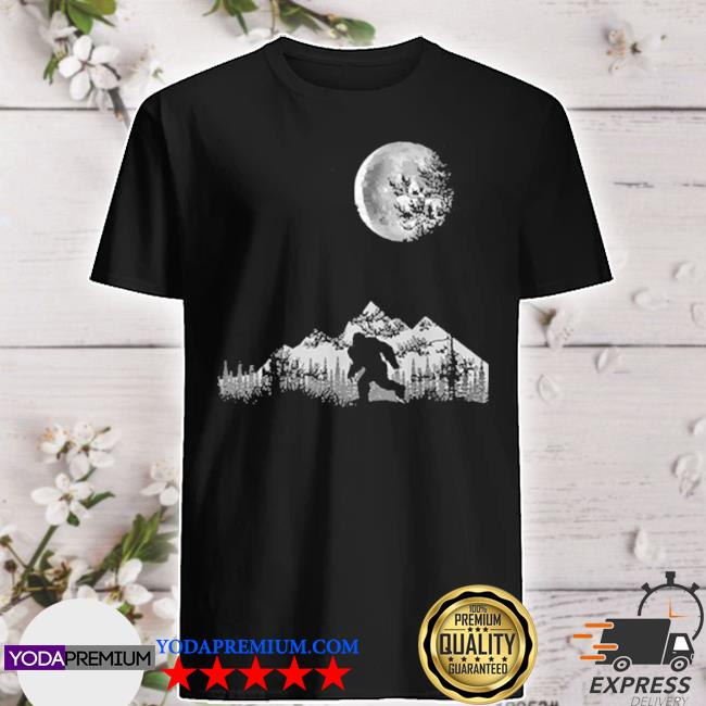 Bigfoot walking in the forest moon night sky sasquatch shirt