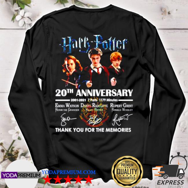 Harry Potter 20th anniversary 2001 2021 thank you for the memories signature s longsleeve