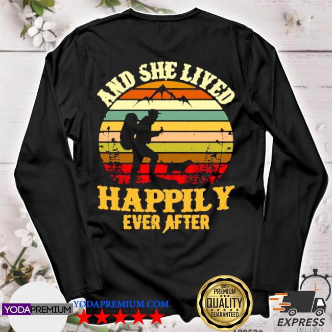 Hiking and she lived happily ever after vintage retro s longsleeve