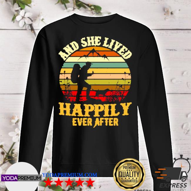 Hiking and she lived happily ever after vintage retro s sweater