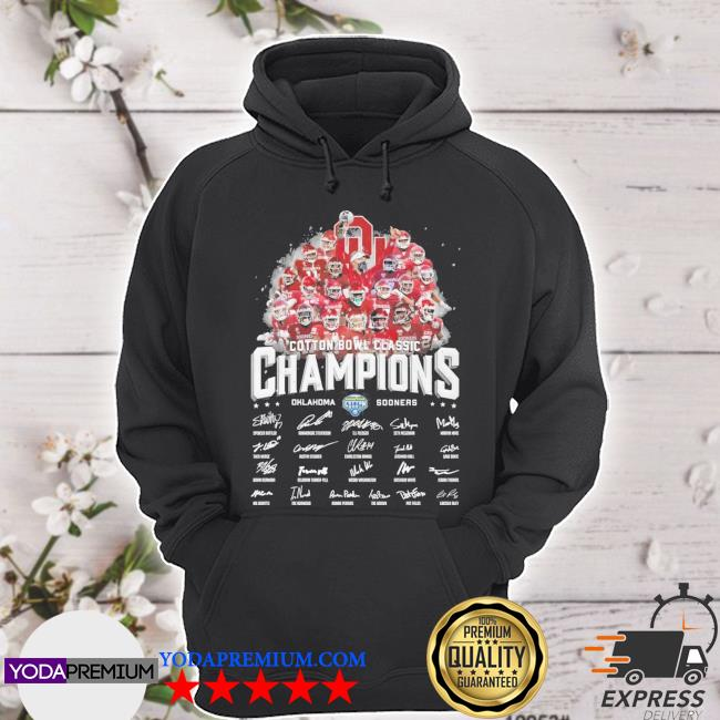 Official cotton bowl classic champions oklahoma and sooners signatures s hoodie
