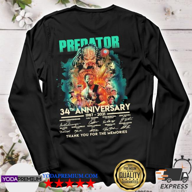 Predator 34th anniversary 1987 2021 signatures thank you for the memories s longsleeve