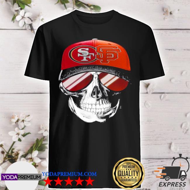 San francisco 49ers and los angeles Lakers skull sunglass shirt
