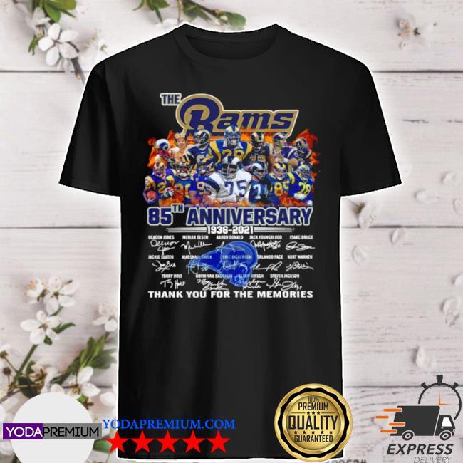 The rams 85th anniversary 1936 2021 signatures thank shirt