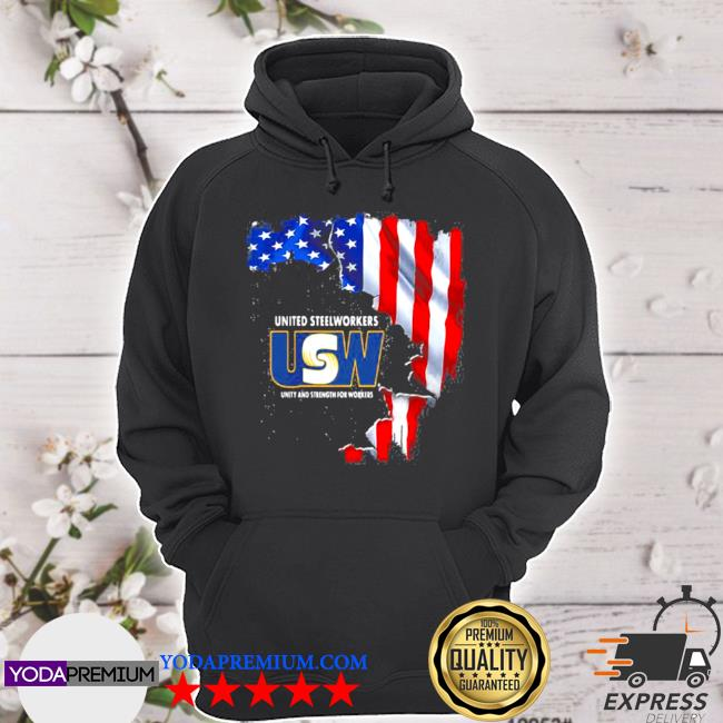 United steelworkers unity and strength for works usa flag s hoodie