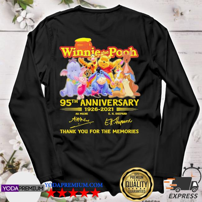 Winnie the Pooh 95th anniversary 1926 2021 signatures thank you for the memories s longsleeve